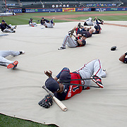 NEW YORK, NEW YORK - MAY 02:  The Atlanta Braves players warming up for batting practice before the Atlanta Braves Vs New York Mets MLB regular season game at Citi Field on May 02, 2016 in New York City. (Photo by Tim Clayton/Corbis via Getty Images)