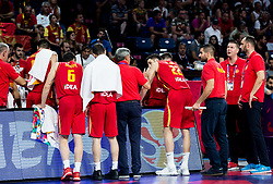Bogdan Tanjevic, head coach of Montenegro with players during basketball match between National Teams of Latvia and Montenegro at Day 11 in Round of 16 of the FIBA EuroBasket 2017 at Sinan Erdem Dome in Istanbul, Turkey on September 10, 2017. Photo by Vid Ponikvar / Sportida