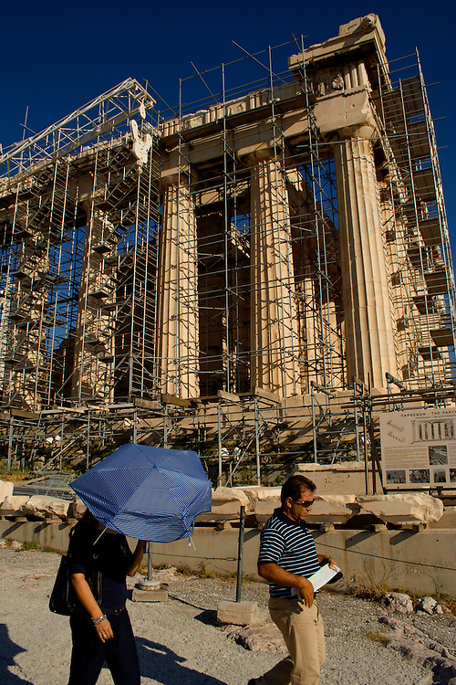 The temple of Parthenon during restoration project in order to protect the monument from time and atmospheric pollution. Athenian Acropolis, Greece.