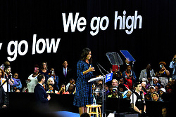 A slogan is displayed on one of the walls of the gym as First Lady Michelle Obama stumps in support of Presidential democratic nominee Hillary Clinton and running-mate Tim Kaine, at a September 28, 2016 Voter Registration Rally at LaSalle University, in Philadelphia, Pennsylvania.