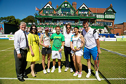 LIVERPOOL, ENGLAND - Friday, June 20, 2014: Tournament Referee Alan Mills, Tournament Director Anders Borg, Marion Bartoli (FRA), Barry Cowan (GBR), Chiara Basso-Basset (ITA), Michael Russell (USA) during Day Two of the Liverpool Hope University International Tennis Tournament at Liverpool Cricket Club. (Pic by David Rawcliffe/Propaganda)