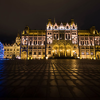 BUDAPEST, HUNGARY - DECEMBER 07:  A general view of the lit Hungarian Parliament with the Christmas tree on December 7, 2017 in Budapest, Hungary. The traditional Christmas market and lights will stay until 31st December 2017.