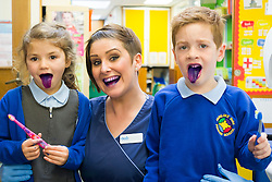 Oasis Lead Dental Nurse Mel Brown with Jacob and Margot after using the disclosure tablets to reveal plaque in the mouth during an oral hygiene session at  Hunloke Park Primary School Wingerworth Chesterfield on Tuesday<br /> 20 October 2015<br />  Image &copy; Paul David Drabble <br />  www.pau ldaviddrabble.co.uk