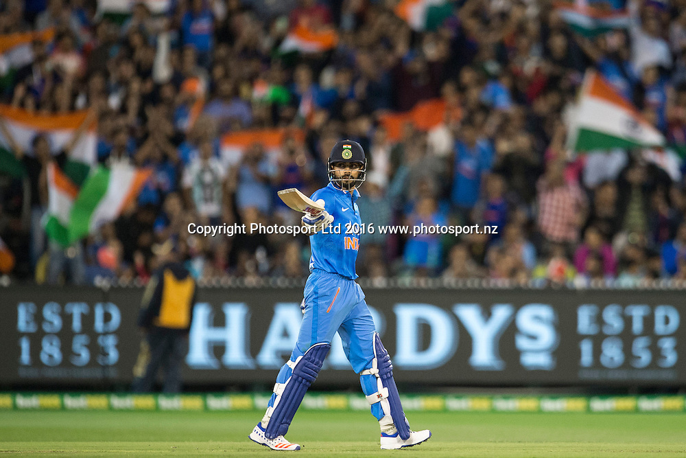 Indian player Virat Kohli celebrates his fifty during the Twenty20 match between Australia and India at the MCG in Melbourne, Australia. Friday 29 January 2016. Copyright photo: Raghavan Venugopal / www.photosport.nz
