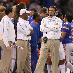 Jan 01, 2010; New Orleans, LA, USA;  Florida Gators head coach Urban Meyer watches from the sideline during the second half of the 2010 Sugar Bowl at the Louisiana Superdome.  Mandatory Credit: Derick E. Hingle-US PRESSWIRE.