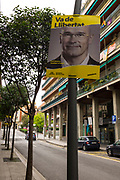 """Election poster in Sant Cugat del Valles, Barcelona for local resident and Senate Candidate Raul Romeva, currently in pre-trial detention for """"rebellion"""" for his part in the October 1st 2017 Catalan independence referendum for Senate candidate for General Election, which takes place Spain, 28 April 2019."""