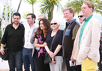 Tomm Moore, Paul Brizzi, Gaëtan Brizzi, Salma Hayek-pinault, Joan C. Gratz, Roger Allers, Joan Sfar, Bill Plympton at the photo call for the film A Tribute to Animated Films at the 67th Cannes Film Festival, Saturday 17th May 2014, Cannes, France.