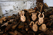 "Wooden masks pictured at a craftsman house during the traditional Celtic carnival ""Caretos"" in the village of Lazarim, central Portugal on February 17, 2015. PAULO CUNHA /4SEE"