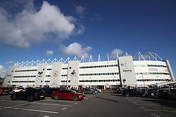 A general exterior view of Libert Stadium during the Premier League match at the Libert Stadium, Swansea.
