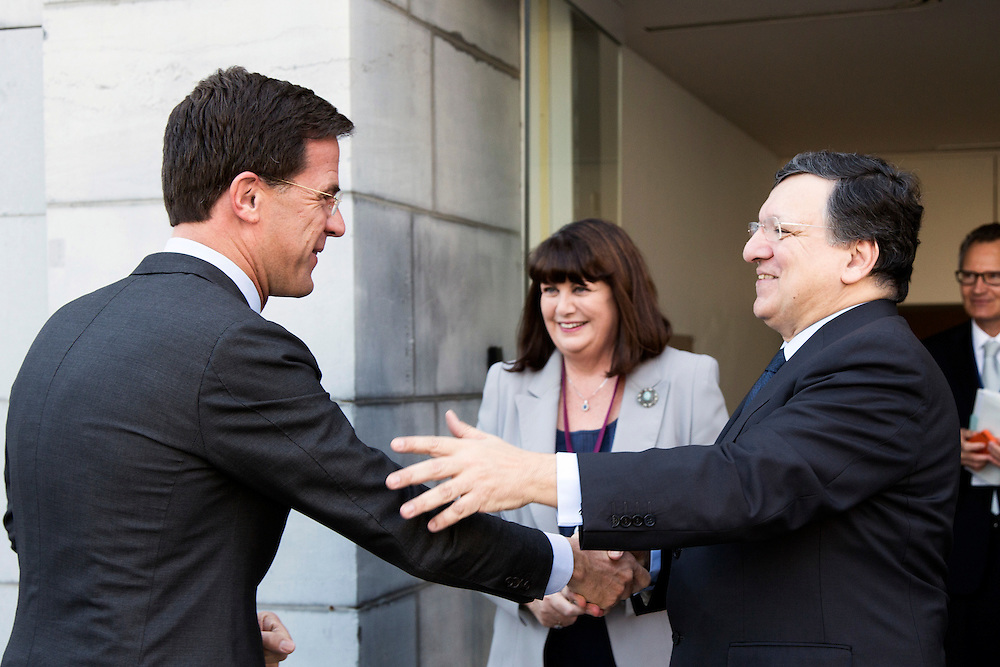 Belgium - Brussels - 10 March 2014 - Innovation Convention 2014 - Entrance VIP - Mark RUTTE , Prime minister of the Netherlands - Maire GEOGHEGAN-QUINN , European Commissioner for Research , Innovation and Science - Jose Manuel Durao BARROSO , President of the European Commission ©EC/CE