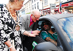 Boyzone's Shane Lynch driving a matte black Porsche arrivied in Westport on friday evening as part of Canonball 2010..He was welcomed at the finish by Cllr Threasa McGuire and Dermot Langan. Over 160 cars took part in the race that raises funds for Barrettstown .