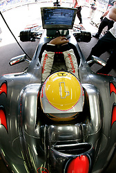 MONTE-CARLO, MONACO - Saturday, May 23, 2009: Lewis Hamilton (GBR, Vodafone McLaren Mercedes) with a number one in diamonds on his helmet during qualifying for the Monaco Formula One Grand Prix at the Monte-Carlo Circuit. (Pic by Juergen Tap/Hoch Zwei/Propaganda)