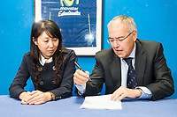 General Manager of chinese club Tammy Zhao and Vice President of Club Estudiantes Miguel Angel Panduro during the international agreement between Club Movistar Estudiantes and Club Guangzhou Longlions in Madrid. November 17, Spain. 2016. (ALTERPHOTOS/BorjaB.Hojas)