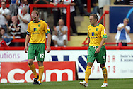 London - Saturday August 15th, 2009: Gary Doherty (L) and Matthew Gill of Norwich City are dejected after Exeter City's equaliser during the Coca Cola League One match at St James Park, Exeter. (Pic by Mark Chapman/Focus Images)