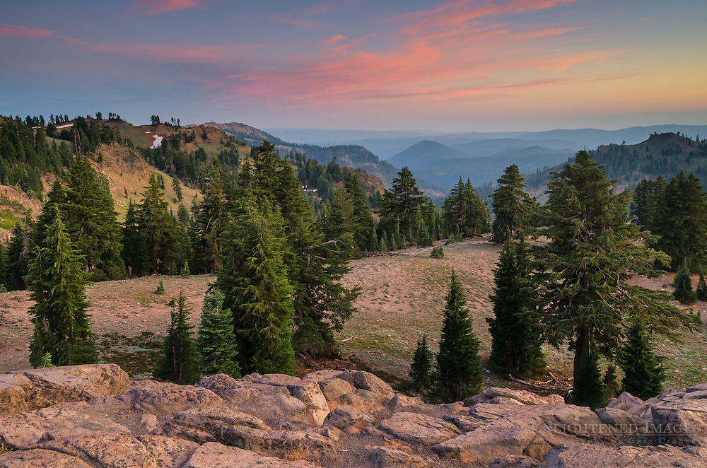 Looking south over Little Hot Springs Valley, Lassen Volcanic National Park, California