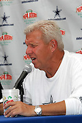 Dallas Cowboys head coach Bill Parcells speaks at a press conference to announce that the Dallas Cowboys and Papa John's pizza chain announce a new relationship during a post practice press conference at the Cowboys training camp in Oxnard, CA on 08/03/2004. ©Paul Anthony Spinelli