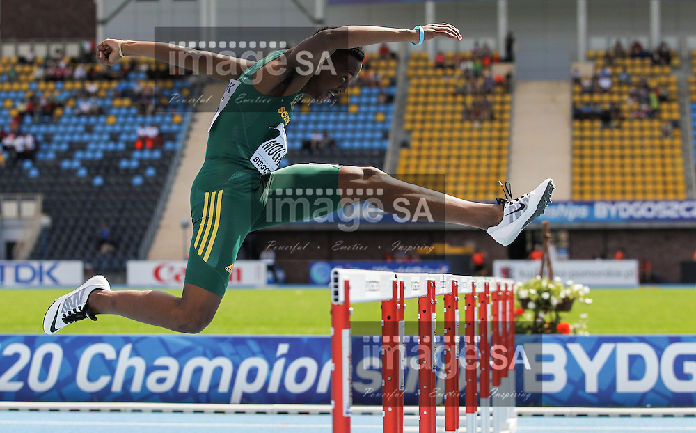 BYDGOSZCZ, POLAND - JULY 21: Kefilwe Mogawane of South Africa in the heats of the mens 400m hurdles during day 3 of the IAAF World Junior Championships at Zawisza Stadium on July 21, 2016 in Bydgoszcz, Poland. (Photo by Roger Sedres/Gallo Images)