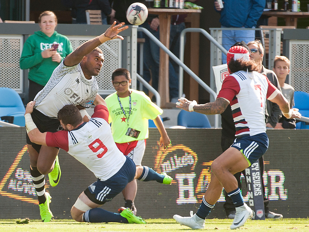 Fuji play the United States in the Cup Quarter Finals of the Silicon Valley Sevens in San Jose, California. November 4, 2017. <br /> <br /> By Jack Megaw.<br /> <br /> <br /> <br /> www.jackmegaw.com<br /> <br /> jack@jackmegaw.com<br /> @jackmegawphoto<br /> [US] +1 610.764.3094<br /> [UK] +44 07481 764811