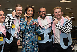 September 11, 2018 - London, London, UK - London, UK.  Melanie Sykes at the 14th Annual BGC Charity Day held on the trading floor of BGC Partners in Canary Wharf, to raise money for charitable causes in commemoration of BGC's 658 colleagues and the 61 Eurobrokers employees lost on 9/11. (Credit Image: © Vickie Flores/London News Pictures via ZUMA Wire)