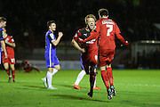 Gwion Edwards of Crawley Town celebrates his goal with Lee Barnard of Crawley Town during the Sky Bet League 2 match between Crawley Town and Stevenage at the Checkatrade.com Stadium, Crawley, England on 26 December 2015. Photo by Phil Duncan.