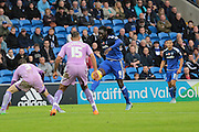 Cardiff City forward Kenwyne Jones and Reading defender Anton Ferdinand during the Sky Bet Championship match between Cardiff City and Reading at the Cardiff City Stadium, Cardiff, Wales on 7 November 2015. Photo by Jemma Phillips.