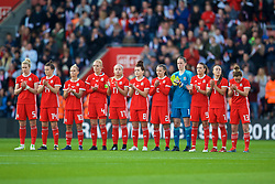 SOUTHAMPTON, ENGLAND - Friday, April 6, 2018: Wales players stand for a minute's applause to remember Ray Wilkins during the FIFA Women's World Cup 2019 Qualifying Round Group 1 match between England and Wales at St. Mary's Stadium. (Pic by David Rawcliffe/Propaganda)