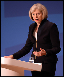 Image ©Licensed to i-Images Picture Agency. 30/09/2014. Birmingham, United Kingdom. Theresa May MP, Secretary of State for the Home Office delivering her keynote speech on day 3 of the Conservative Party Conference. Picture by Andrew Parsons / i-Images