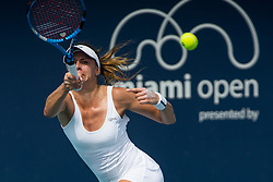 March 18, 2019 - Miami Gardens, FL, U.S. - MIAMI GARDENS, FL - MARCH 18: Magda Linette (POL) in action during the Miami Open on March 18, 2019 at Hard Rock Stadium in Miami Gardens, FL. (Photo by Aaron Gilbert/Icon Sportswire) (Credit Image: © Aaron Gilbert/Icon SMI via ZUMA Press)