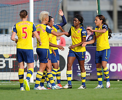 Arsenal players celebrate Chioma Ubogagu's goal against Bristol Academy Women - Photo mandatory by-line: Paul Knight/JMP - Mobile: 07966 386802 - 09/05/2015 - SPORT - Football - Bristol - Stoke Gifford Stadium - Bristol Academy Women v Arsenal Ladies FC - FA Women's Super League