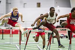 Boston University Multi-team indoor track & field, men 60 meter hurdles, prelim, heat 1, Boston College 2368