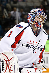 February 17, 2011; San Jose, CA, USA;  Washington Capitals goalie Semyon Varlamov (1) warms up before the game against the San Jose Sharks at HP Pavilion.  San Jose defeated Washington 3-2. Mandatory Credit: Jason O. Watson / US PRESSWIRE