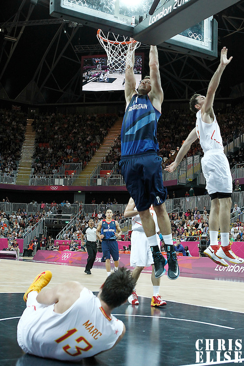 02 August 2012: Great Britain Joel Freeland goes for the dunk during 79-78 Team Spain victory over Team Great Britain, during the men's basketball preliminary, at the Basketball Arena, in London, Great Britain.
