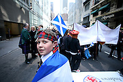NEW YORK CITY - APRIL 9: A child waiting for the Tartan Day Parade to start in New York City.