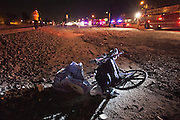 The aftermath of suicide on the train tracks. A homeless parapalegic man wheeled himself onto the tracks and was hit head-on by a commuter train. Dec. 8, 2011. Oxnard, Calif. (Photo by Gabriel Romero ©2011)