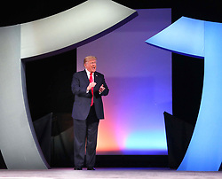 October 8, 2018 - Orlando, Florida, USA - President Trump responds to cheering supporters as he takes the stage, Monday, Oct. 8, 2018 to deliver remarks to the International Association of Chiefs of Police, at the Orange County Convention Center. (Credit Image: © Joe Burbank/Orlando Sentinel/TNS via ZUMA Wire)