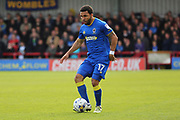 AFC Wimbledon striker Andy Barcham (17) dribbling during the EFL Sky Bet League 1 match between AFC Wimbledon and Peterborough United at the Cherry Red Records Stadium, Kingston, England on 17 April 2017. Photo by Matthew Redman.