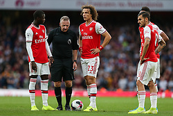 David Luiz of Arsenal lines up a free kick - Mandatory by-line: Arron Gent/JMP - 22/09/2019 - FOOTBALL - Emirates Stadium - London, England - Arsenal v Aston Villa - Premier League