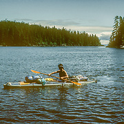 It was always a relief to get everything packed into and onto my kayak. I broke all of the conventional rules regarding how much could be loaded onto the decks, but I was carrying such a heavy load with all of my camping and photographic equipment as well, that my kayak was still very stable, if not a little heavy to paddle. But after paddling so many miles like that and keeping up with the whales day after day I developed a very efficient strong paddling style all of my own. It became very metronomic and relaxing with the sound of the water gliding past me.
