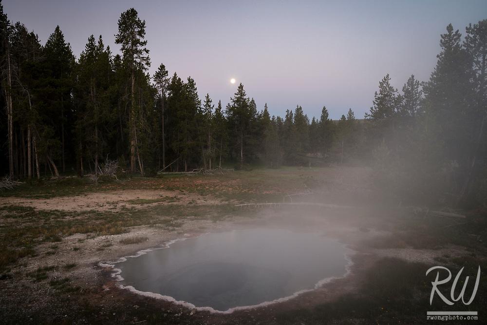 Shield Spring Full Moon at Dawn, Yellowstone National Park, Wyoming