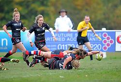 Sarah Bern of Bristol Ladies scores a try against Saracens Women - Mandatory by-line: Paul Knight/JMP - 30/10/2016 - RUGBY - Cleve RFC - Bristol, England - Bristol Ladies v Saracens Women - RFU Women's Premiership
