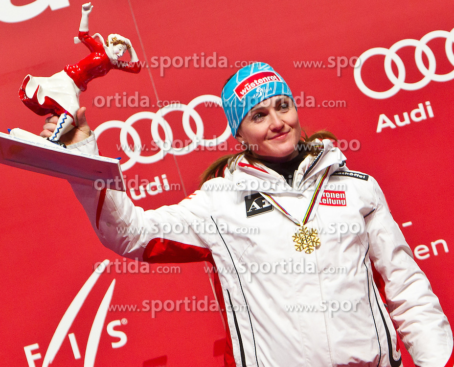 08.02.2011, Medalplaca, Garmisch Partenkirchen, GER, FIS Alpin Ski WM 2011, GAP, Lady Super G, Medal Ceremony, im Bild Elisabeth GOERGL (AUT, Weltmeisterin SuperG) // Elisabeth GOERGL (AUT, World Champion SuperG) during Women Super G, Fis Alpine Ski World Championships in Garmisch Partenkirchen, Germany on 8/2/2011. EXPA Pictures © 2011, PhotoCredit: EXPA/ J. Groder