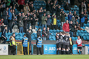 Chorley players celebrate getting the equalising goal by Adam Blakeman (Chorley). They celebrate in front of their fans as the game is 1-1 during the Vanarama National League North Play Off final match between FC Halifax Town and Chorley at the Shay, Halifax, United Kingdom on 13 May 2017. Photo by Mark P Doherty.