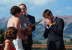 Wedding of Grace  and Joey at Uley's Cabin on August 16, 2013, in Crested Butte, Colorado.