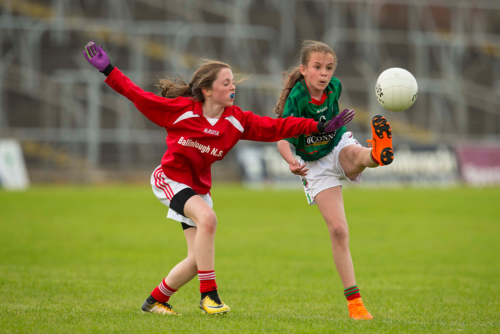 26/05/2018,  Game 7.Cumann na mBunScol Primary School Finals at Pairc Tailteann, Navan<br /> Girls Division 5 Final: Drumbaragh vs Ballinlough<br /> Lauren Murray (Drumbaragh NS) & Sinead Finnegan (Ballinlough NS)<br /> David Mullen / www.cyberimages.net<br /> ISO: 400; Shutter: 1/1250; Aperture: 4.5<br /> File Size: 2.3MB<br /> Print Size: 8.6 x 5.8 inches