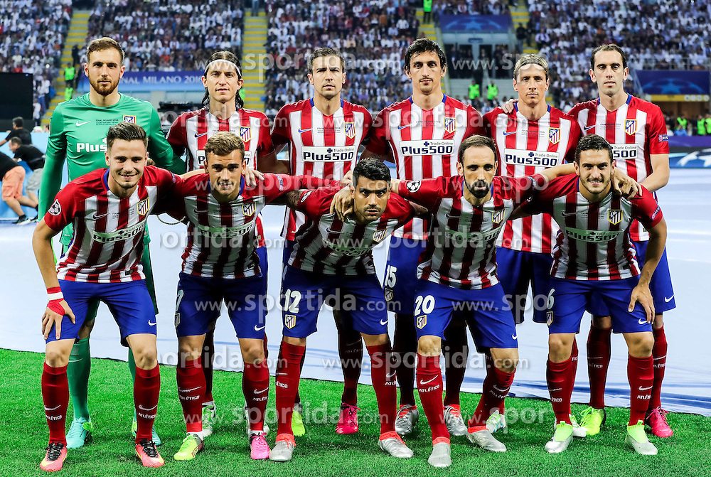 Team Atletico prior to the football match between Real Madrid (ESP) and Atlético de Madrid (ESP) in Final of UEFA Champions League 2016, on May 28, 2016 in San Siro Stadium, Milan, Italy. Photo by Vid Ponikvar / Sportida