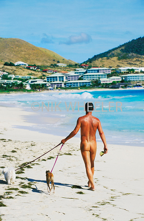 Nudist walks his dogs on Orient Bay Beach in St. Martin in the Caribbean