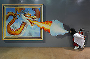 JINAN, CHINA - MAY 16: (CHINA OUT) <br /> <br /> 3D Painting Exhibition In Jinan<br /> <br /> People visit 3D magic art special exhibition at Shandong Province Science and Technology Museum on May 16, 2013 in Jinan, Shandong province of China. <br /> ©ChinaFoto/Exclusivepix