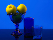 yellow Apple still life in blue