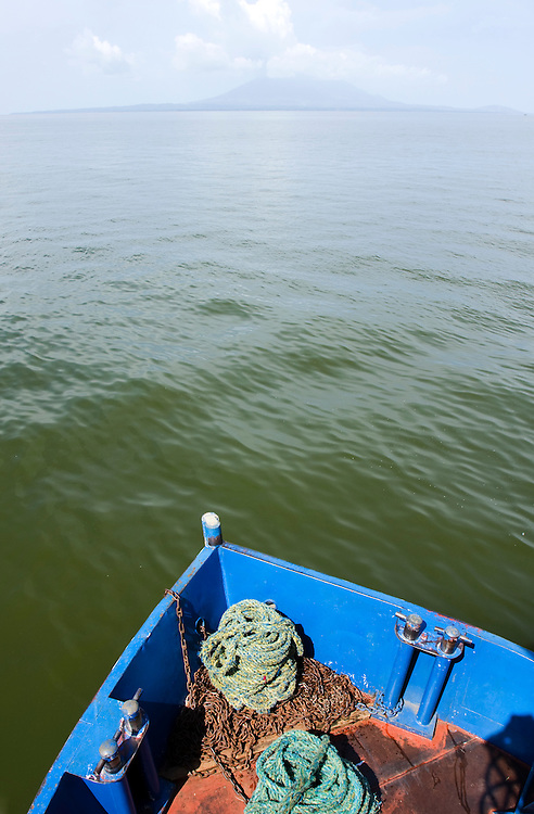 A view across the bow of the ferry boat taking cars and passengers across lake Nicaragua from San Jorge to Moyagalpa on the island of Ometepe