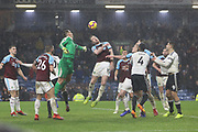 10 Ashley Barnes clears the Fulham cross for Burnley FC during the Premier League match between Burnley and Fulham at Turf Moor, Burnley, England on 12 January 2019.